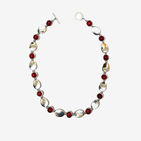Multi-strand coral, onyx and pearl necklace