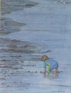 Painting in watercolour of small boy searching in the sea by Clive Hale