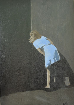 Acrylic painting of girl in blue dress looking around teh corner of a wall into te dark shadows by Clive Hale