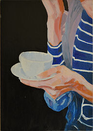 Painting in acrylics of a female hand holding a cup of Latte coffee by Clive Hale