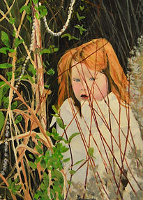 Portait in Oils of Ashlyn Weaver at Easter time walking through a Secret Garden by Clive Hale