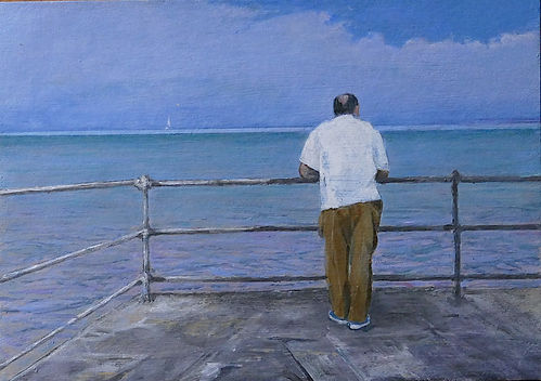 Acryli painting of a man reflecting on life by Clive Hale