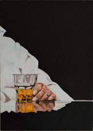 Painting in acrylics of a man hand holding a glass of Bourbon by Clive Hale