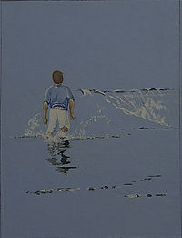 Acrylic painting of a boy looking out for a wave to jump over by Clive Hale