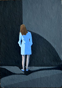 Acrylic painting of Girl in blue dress seeks clarity by Clive Hale