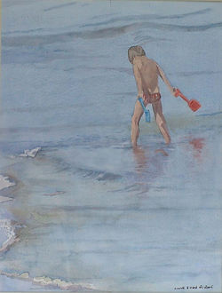 Painting in watercolour of young boy in the sea by Clive Hale