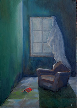 Empty chair with book