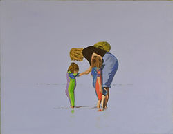 Acrylic painting of Mother, son and daughter in the sea at Swanage Dorset England by Clve Hale