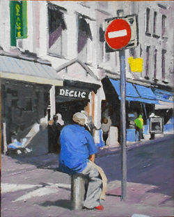 OIl painting of Porter in Cherbourg taking a morning break by Clive Hale