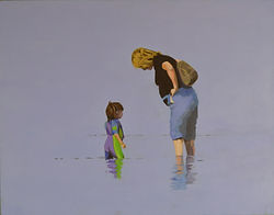 Acrylic painting of Mother and son in the sea at Swanage Dorset England by Clive Hale