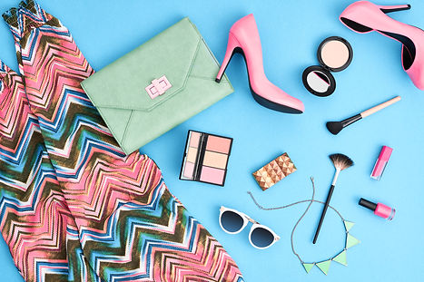 Urban summer girl colorful outfit. Fashi