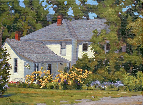 Farmhouse with Yellow Roses
