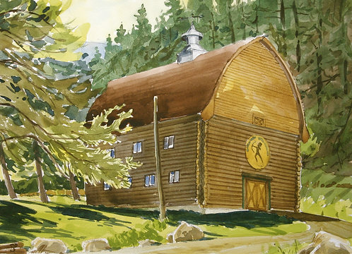 "The ""Mule Barn"" (Watercolor)"