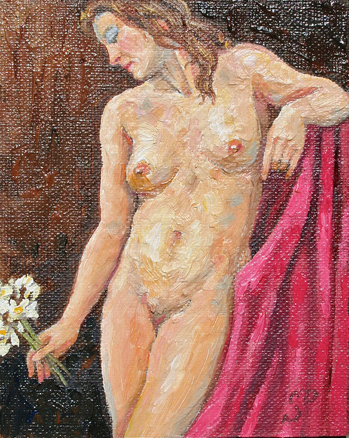 Standing Nude 3 (w/flowers)