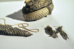 Set of handbag, necklace and earring