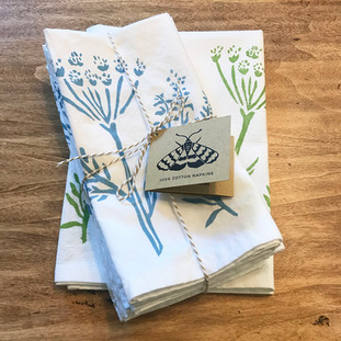 Hand printed herb napkins