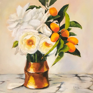 White Blooms on Marble