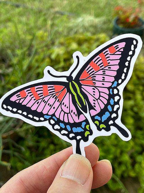 Vinyl Sticker - Swallowtail PINK