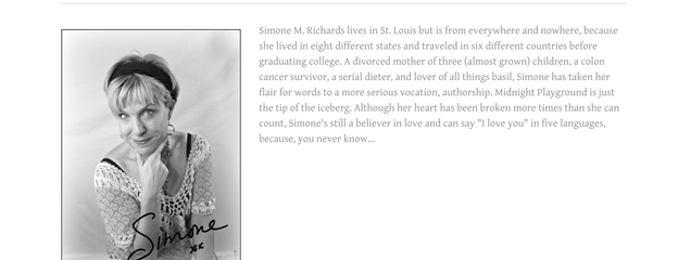 Simone Richards, Author About Page