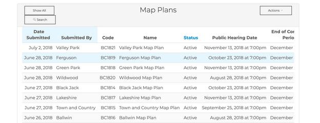 St. Louis Boundary Commission Map Plans Table