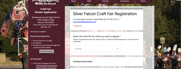 Silver Falcon Marching Band Onine Registration