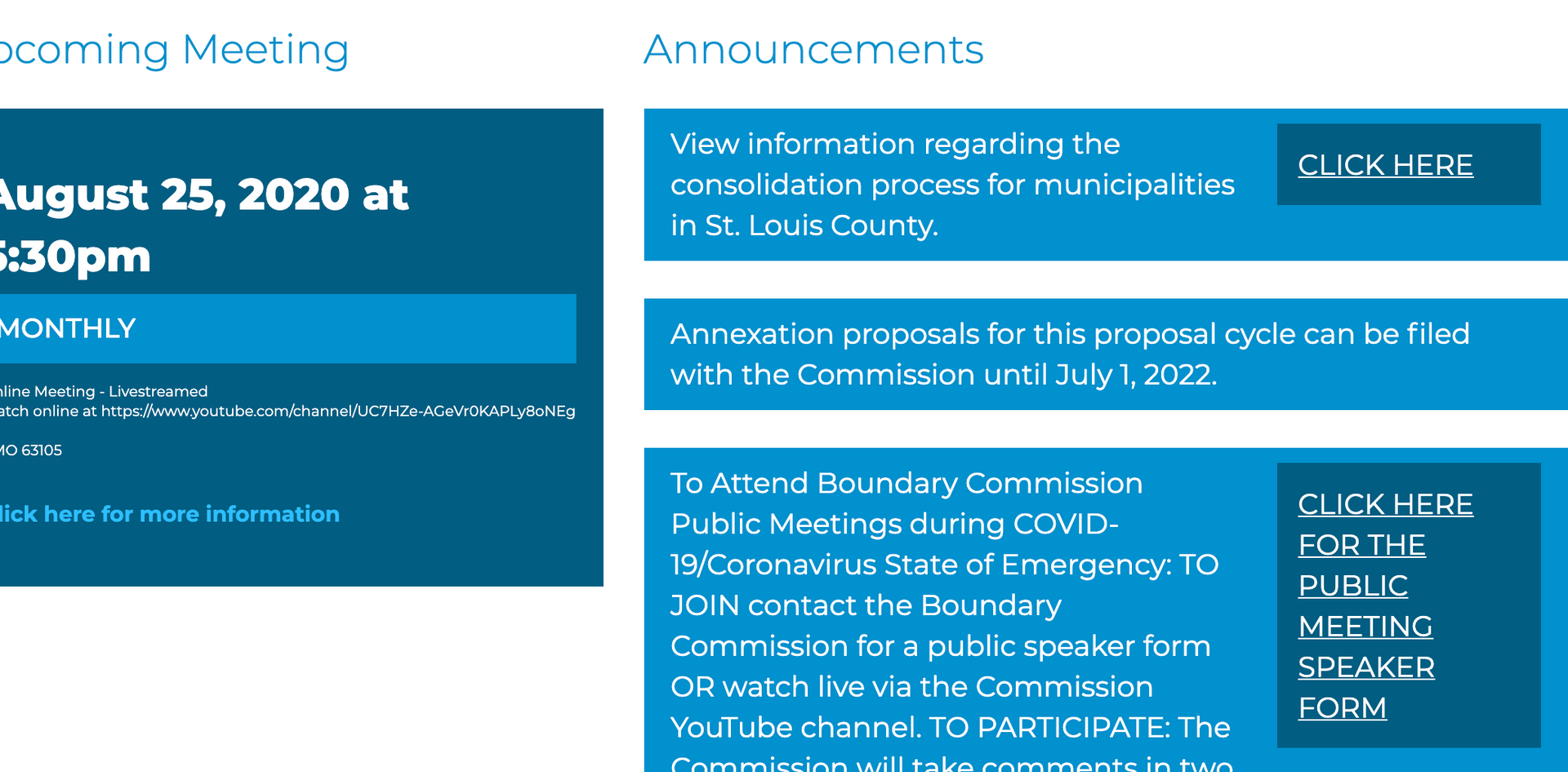 St. Louis Boundary Commission Upcoming Meeting Page