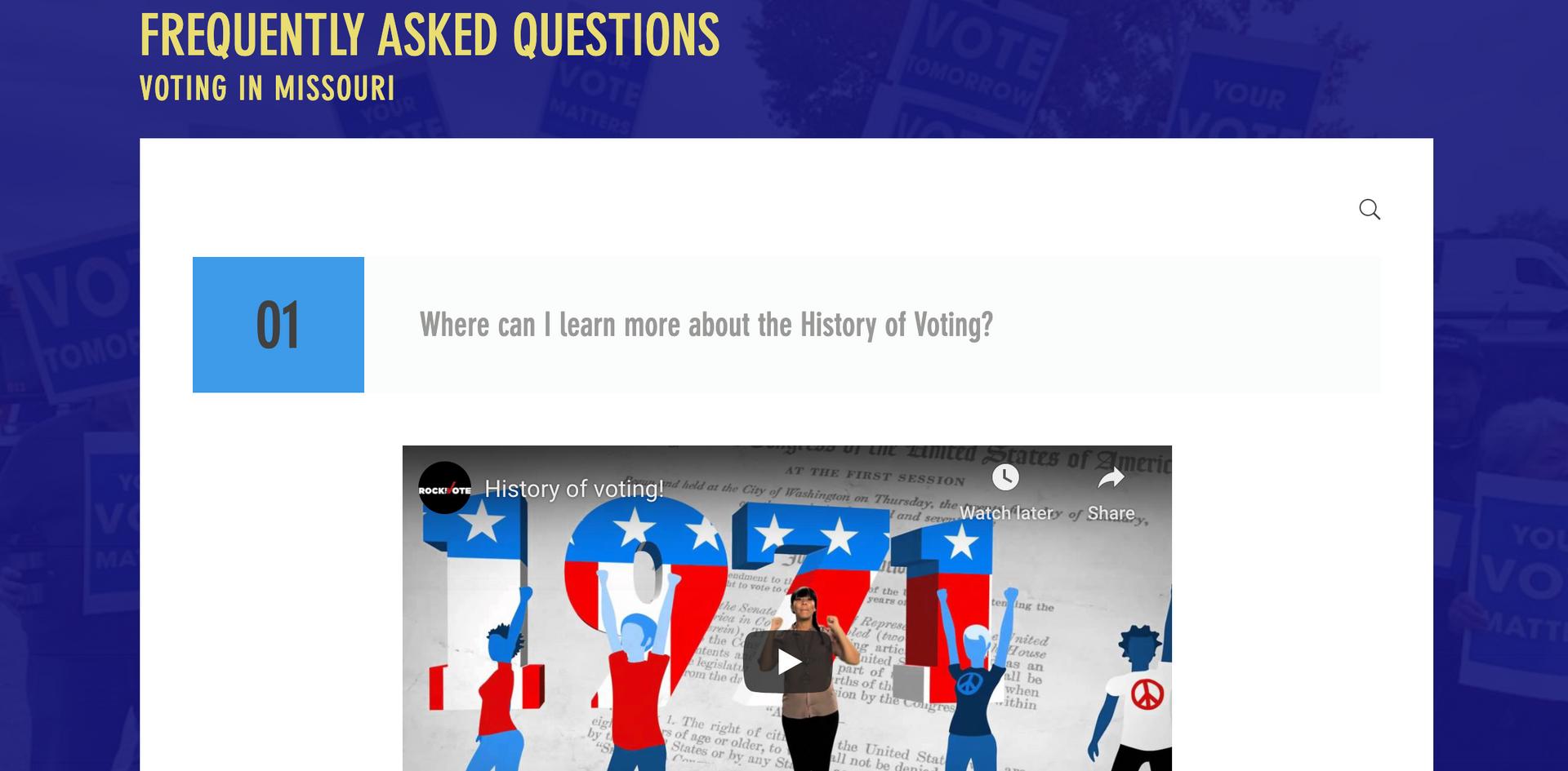Dance the Vote FAQ page