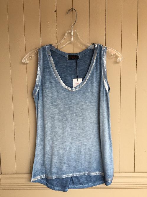 Camisole bandes argentées bleu Elissia