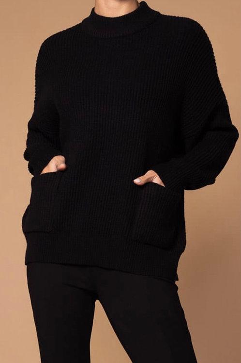 Tricot noir à poches Elena Wang