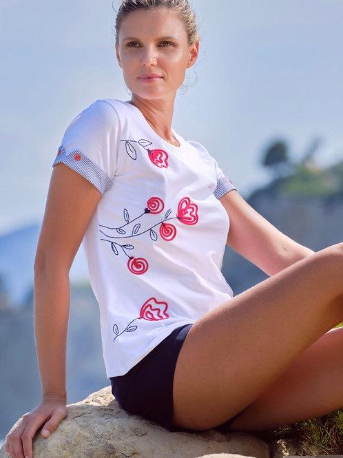 T-Shirt fleurs rouges brodées Scorzzo
