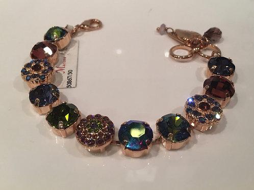 Bracelet cristaux fleurs bourgogne-bleu-émeraude Mariana
