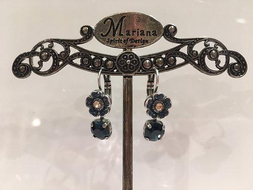 Boucles d'oreilles fleurs multi cristaux bleu-champagne  Mariana
