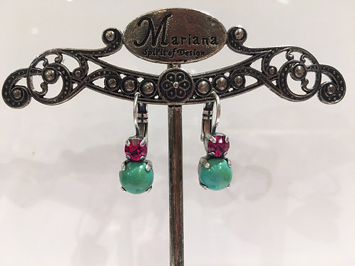 Boucles d'oreilles cristal rose  , turquoise Mariana