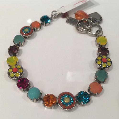 Bracelet cristaux fleurs jaune-turquoise-corail Mariana