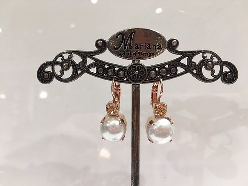 Boucles d'oreilles perles, cristal champagne Mariana