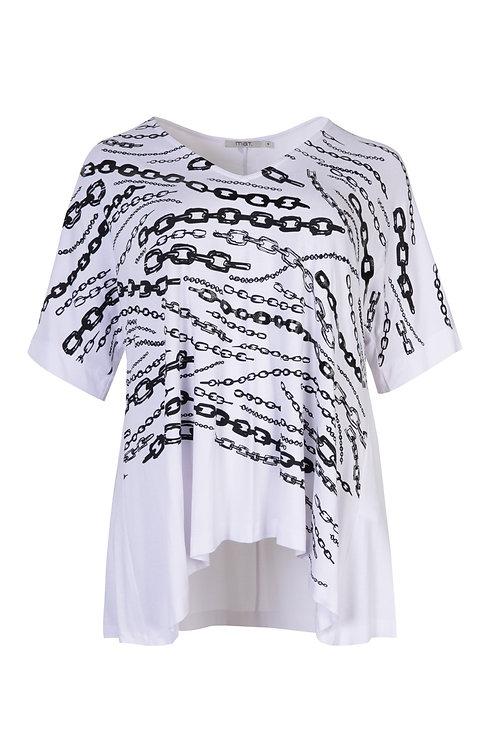 Haut blanc chaînes noires Mat. Fashion