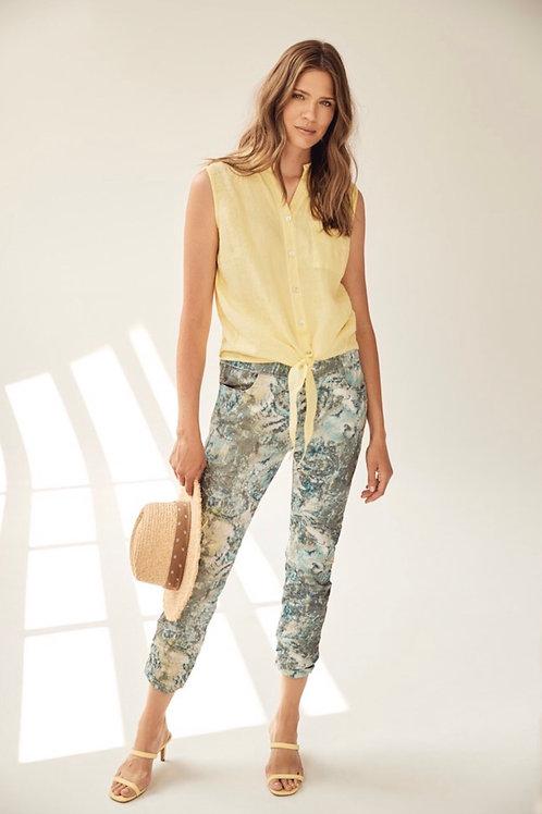 Pantalon italien turquoise-jaune Charlie B
