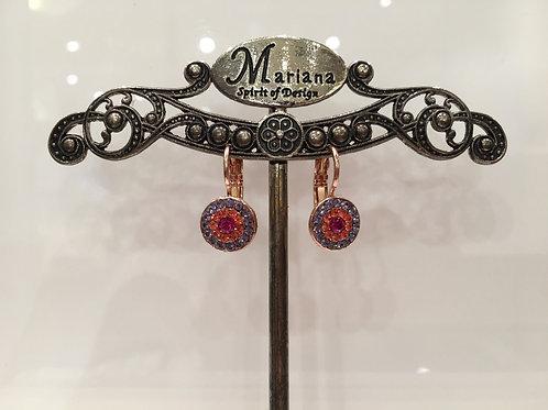 Boucles d'oreilles fleurs cristaux lilas-corail-rose Mariana