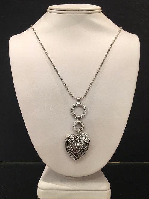 Collier coeur cristaux perle-clair Mariana
