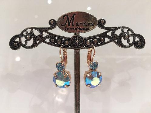 Boucles d'oreilles cristaux  bleus multi-reflets Mariana