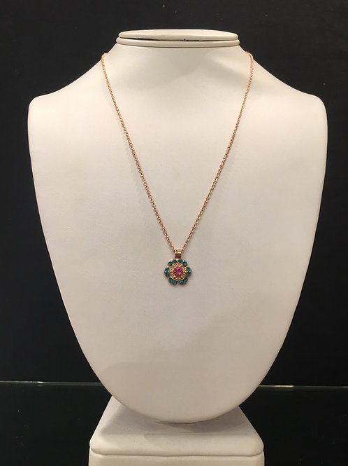 Collier fleur cristaux rose-turquoise Mariana