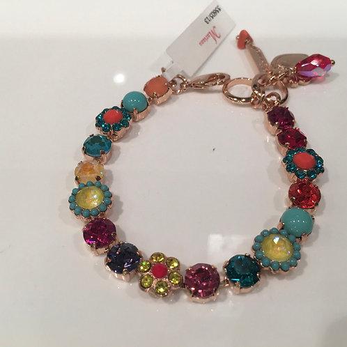 Bracelet cristaux fleurs jaune-turquoise Mariana