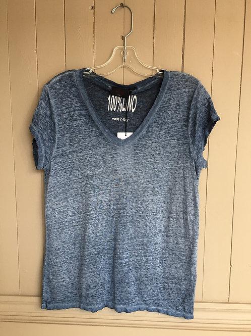 T-Shirt lin bleu Elissia