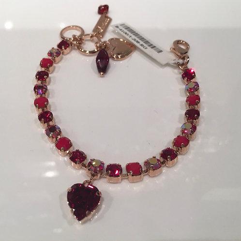 Bracelet cristaux et cœur rouge Mariana