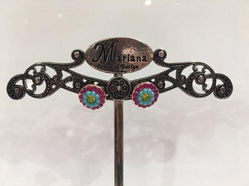Boucles d'oreilles fleurs multi cristaux Mariana