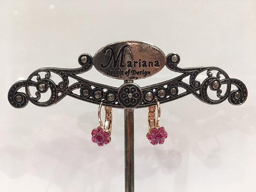 Boucles d'oreilles mini fleurs cristaux rose Mariana