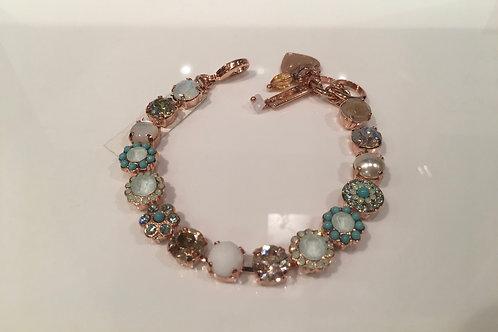 Bracelet cristaux fleurs menthe-champagne Mariana