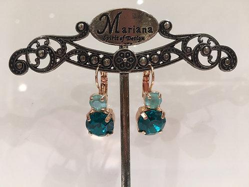 Boucles d'oreilles cristaux  émeraude-menthe Mariana
