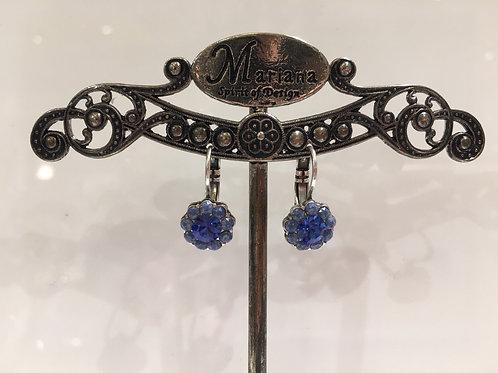 Boucles d'oreilles fleurs multi cristaux bleus Mariana