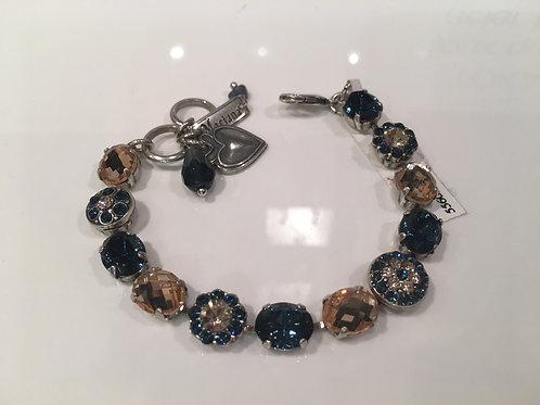 Bracelet cristaux fleurs bleu-champagne Mariana